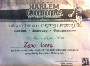 zane, honea, harlem, globetrotters, bullying, bullies, kids