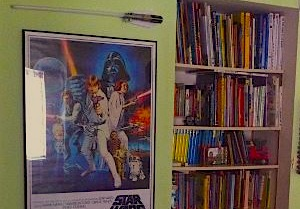 kids, boys, room, books, star wars, poster, art, bookshelf, bookshelves, lightsaber, night light