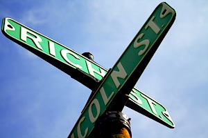 crossroads, street, sign, rich,